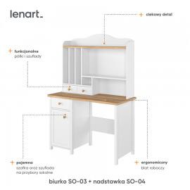 nadstawka nad biurko z półkami i szufladkami cechy