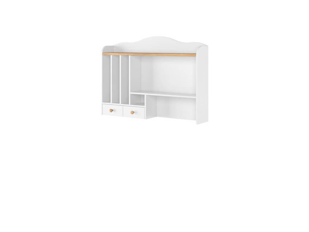 nadstawka nad biurko z półkami i szufladkami